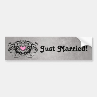 Gothic romance swirls and hearts just married v2 car bumper sticker