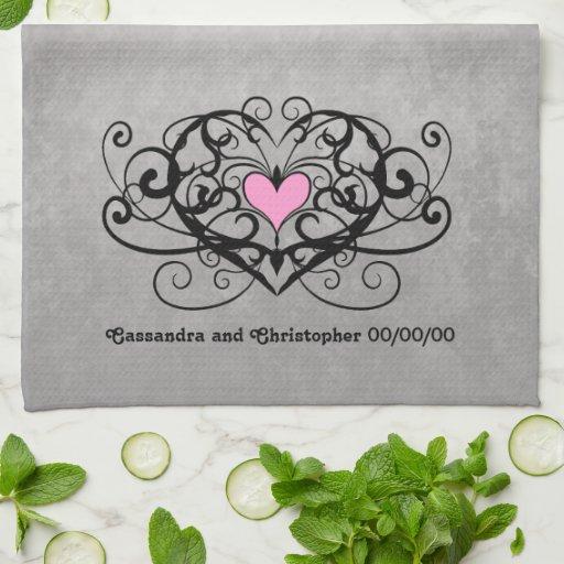 Gothic romance swirls and hearts wedding kitchen towel