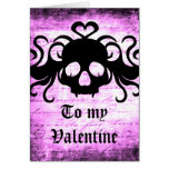 Gothic romantic fanged skull greeting card
