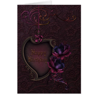 Gothic Rose Birthday Greeting Card