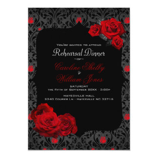 Gothic Rose Black and Red Rehearsal Dinner Card