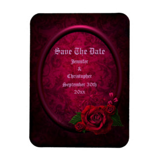 Gothic Rose Frame Save The Date Wedding Rectangular Photo Magnet