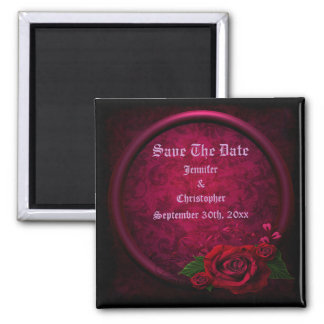 Gothic Rose Frame Save The Date Wedding Square Magnet