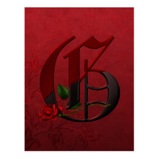 Gothic Rose Monogram G Postcard