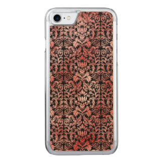 Gothic Rose Red Black Damask Carved iPhone 7 Case