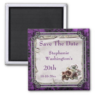 Gothic Roses & Black Damask 20th Save The Date Square Magnet