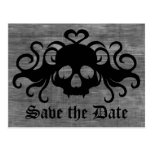 Gothic save the date fanged vampire skull