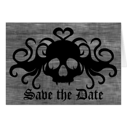 Gothic save the date fanged vampire skull note card