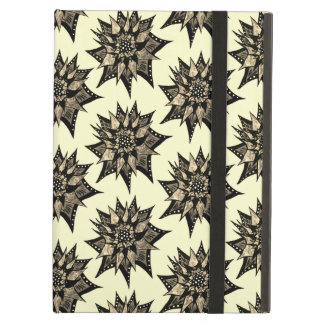 Gothic Sepia Toned Spiked Abstract Flower Pattern iPad Air Cover