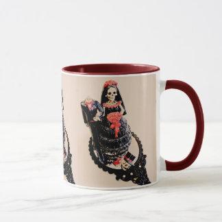 Gothic skeleton bride and groom wedding mug