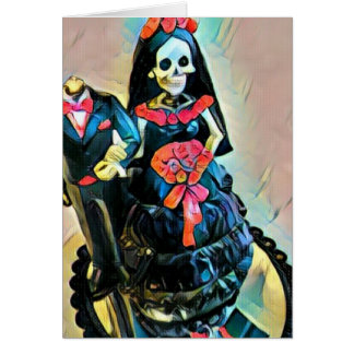 Gothic skeleton corpse wedding card