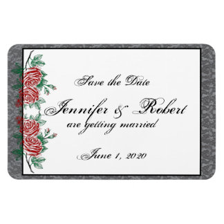 Gothic Skeleton Hands Roses Wedding Save the Date Rectangular Photo Magnet
