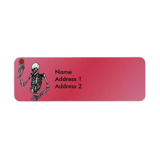 Gothic Skeleton Single Red Rose Return Address Return Address Label