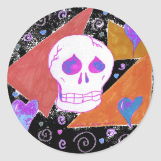 Gothic Skul pink orange black 2 Round Sticker