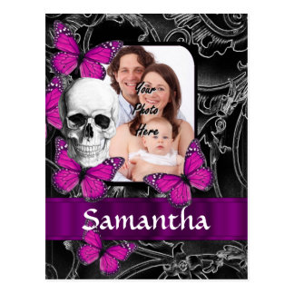 Gothic skull and butterflies postcard