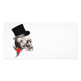Gothic skull and rose tattoo style photo cards