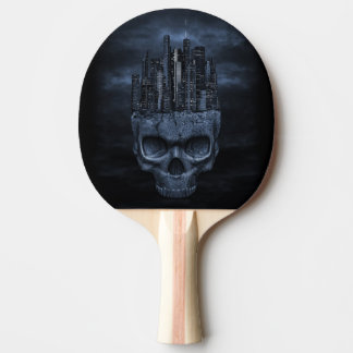 Gothic Skull City Ping Pong Paddle
