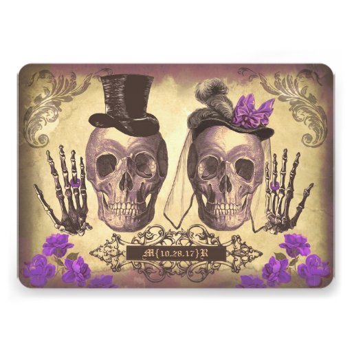 Gothic Skull Couple Day of The Dead Wedding purple Invite
