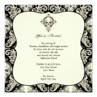 Gothic Skull Damask Halloween Party Card