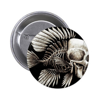 GOTHIC SKULL FISH PINBACK BUTTONS