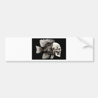 GOTHIC SKULL FISH BUMPER STICKER