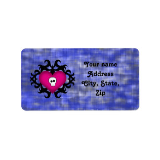 Gothic skull heart address label