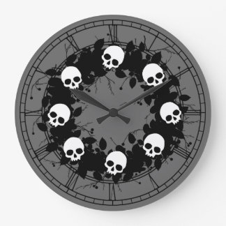 Gothic Skull Holiday Wreath Wall Clocks