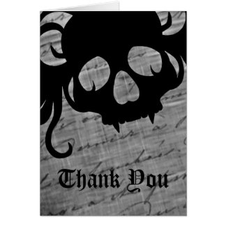 Gothic skull in black and white, Thank You Card