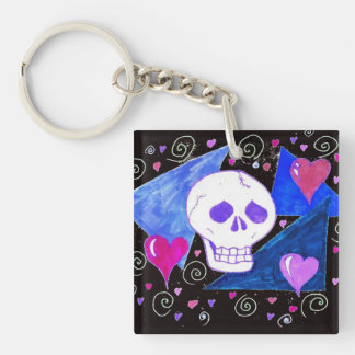 Gothic Skull (Original Version) by EelKat Double-Sided Square Acrylic Key Ring