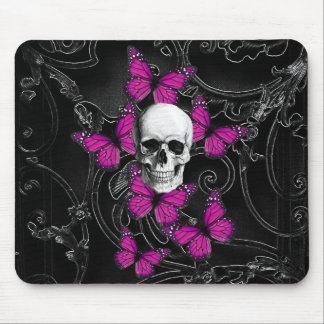 Gothic skull & purple butterflies mouse pad