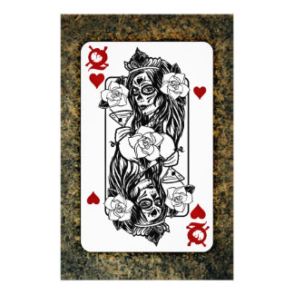 Gothic Skull Queen Playing Card Customized Stationery