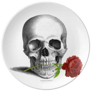Gothic Skull Rose Horror Fantasy Porcelain Plate