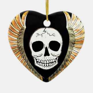 Gothic Skull & Wings Ceramic Heart Decoration