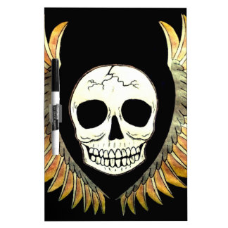 Gothic Skull & Wings Dry Erase Board
