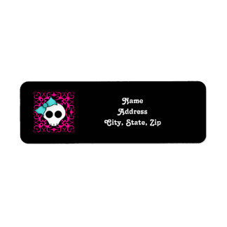 Gothic skull with blue blow on black and fuschia return address label