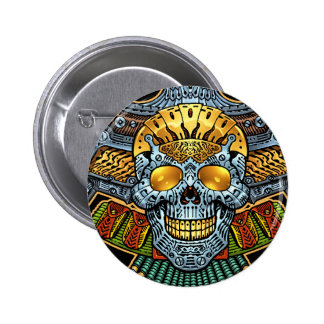 Gothic Skull with Guns and Bullets by Al Rio 6 Cm Round Badge