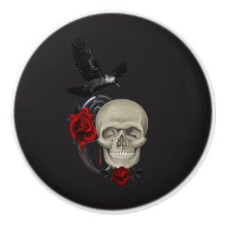Gothic Skull With Rose and Raven Ceramic Knob