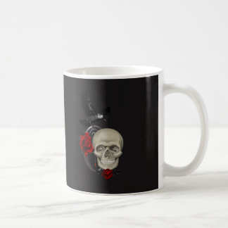 Gothic Skull With Rose and Raven Coffee Mug
