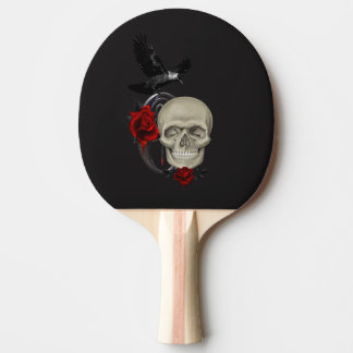 Gothic Skull With Rose and Raven Ping Pong Paddle