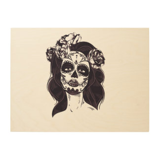 Gothic Skull Wood Print