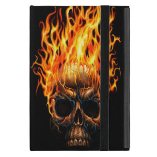 Gothic Skull Yellow Orange Fire Flames Pattern Cover For iPad Mini