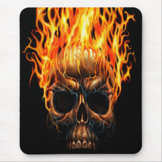 Gothic Skull Yellow Orange Fire Flames Pattern Mouse Pad