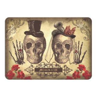 Gothic Skulls Day of The Dead Save the Date Cards 11 Cm X 16 Cm Invitation Card