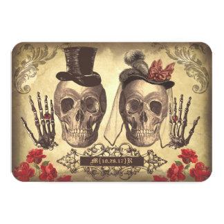 Gothic Skulls Day of The Dead Wedding RSVP cards 9 Cm X 13 Cm Invitation Card