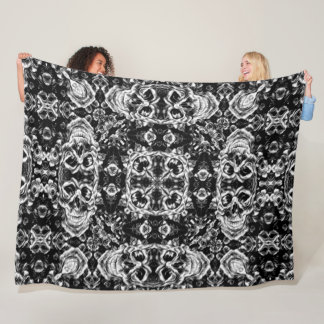 Gothic Skulls Victorian Silk Foulard Mandala Fleece Blanket