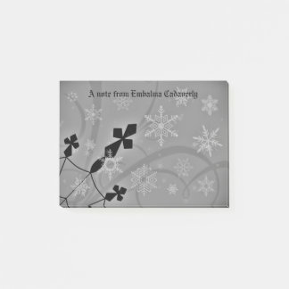 Gothic snowflakes and crosses winter scene post-it notes