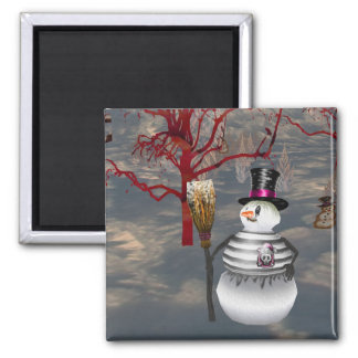 Gothic Snowman Magnet Refrigerator Magnets