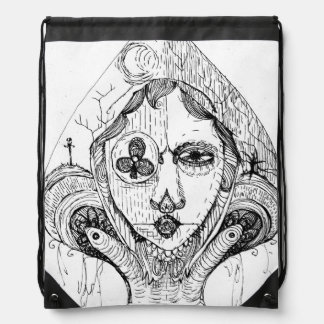 Gothic Spade Drawstring Bag
