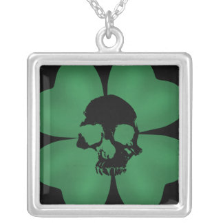 Gothic spooky shamrock silver plated necklace
