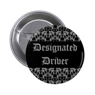 Gothic style black and gray designated driver 6 cm round badge